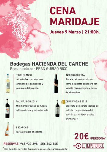 cata de vinos en El Imperdible Murcia el 9 de marzo
