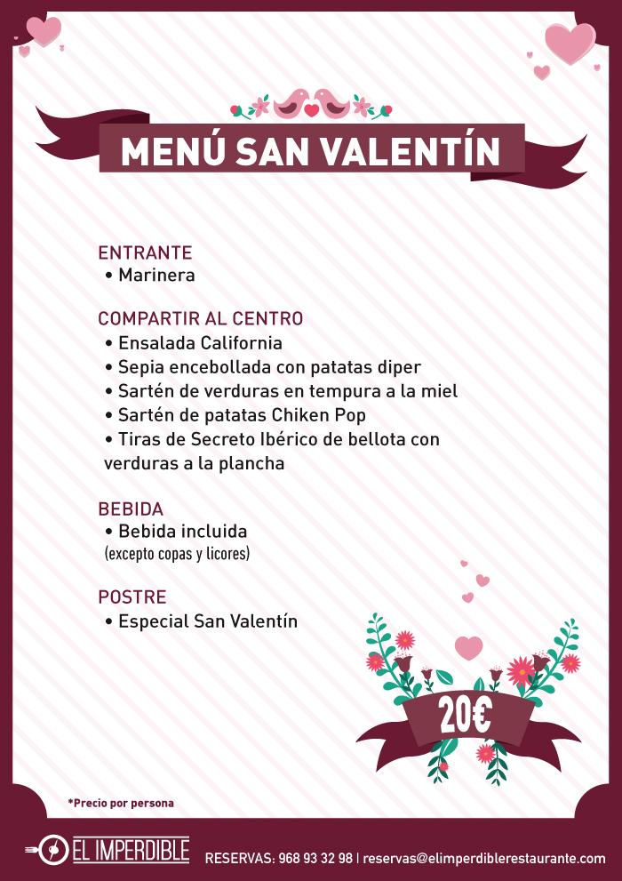 Descripción del menú de San Valentín