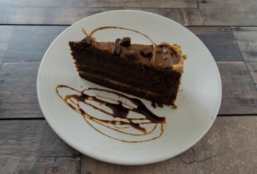 porción de tarta de chocolate